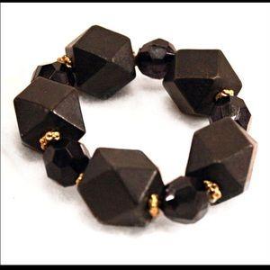 Jewelry - Dark Brown Geometric Bead Stretch Bracelet