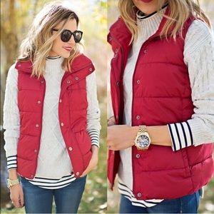wearinla Jackets & Blazers - LAST 1 puffer vest maroon red outerwear jacket