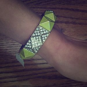Neon and silver stretch bracelet