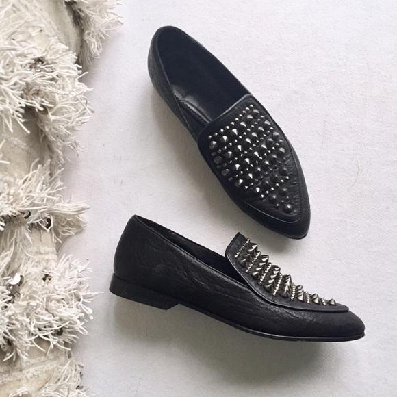6b94d525332 All Saints Shoes - ALL SAINTS Keiko Studded Spike Loafers Size 36