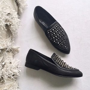 All Saints Shoes - ALL SAINTS Keiko Studded Spike Loafers Size 36