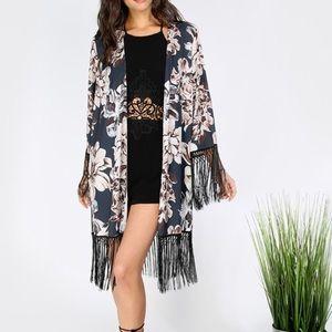 ROMWE Other - NWOT Multicolor Floral Print Tassel Kimono