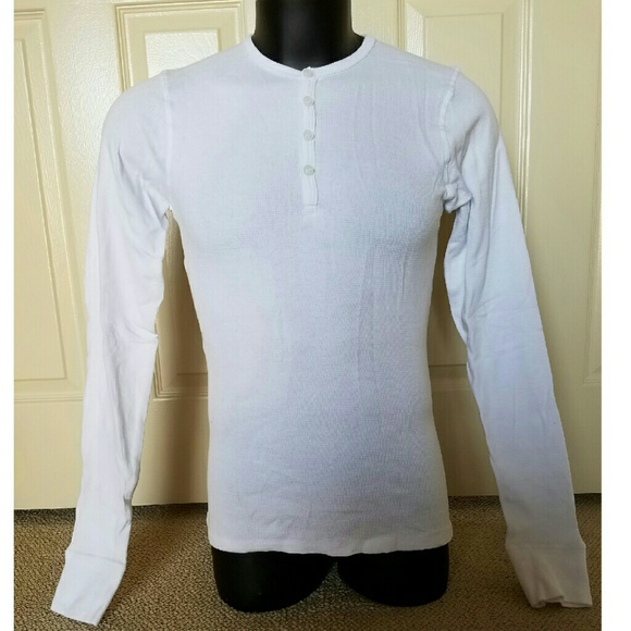 POV Other - NEW POV White Longsleeve Henley Polo Shirt Small S