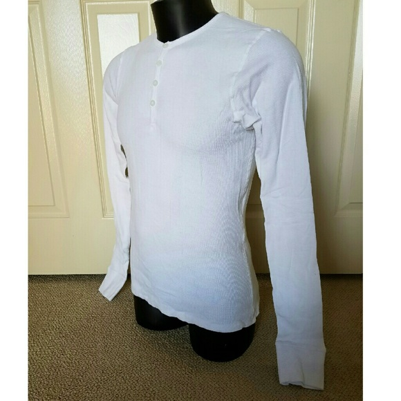 POV Shirts - NEW POV White Longsleeve Henley Polo Shirt Small S