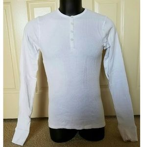 NEW POV White Longsleeve Henley Polo Shirt Small S