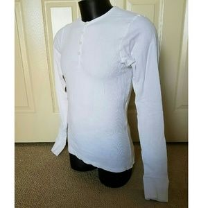 POV Shirts - NEW POV White Longsleeve Henley Polo Shirt Small S