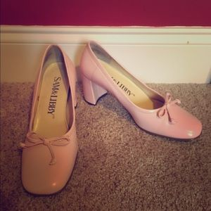 Sam & Libby Pink Bowed Heels, Like New!