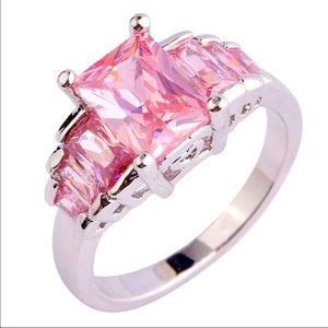 Jewelry - Emerald Cut Pink Topaz AAA Silver Ring