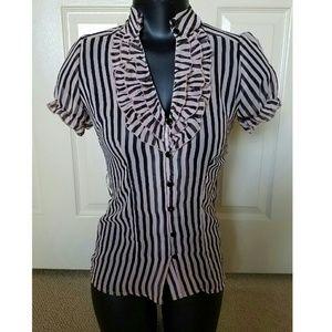 Pink Black Sheer Stripe Baby doll Ruffled Shirt XS