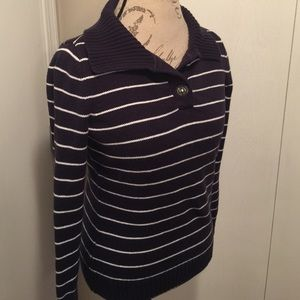 Navy Blue and White Stripped Sweater