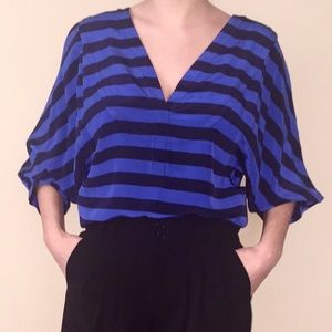 BCBGMaxAzria Tops - BCBGMaxAzria Striped Silky Blouse