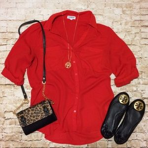 Express Tops - Express Portifino Shirt in Red