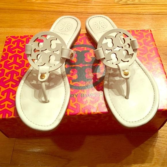 e24a307e1b60 Tory Burch Miller-Saffiano patent sandal. M 58619c955c12f8a46001984a