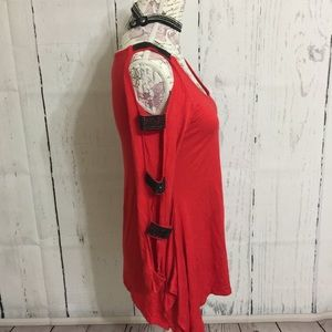 La Vanya Tops - Sexy Red, Black Beaded Bandage Shoulder Top TO-11