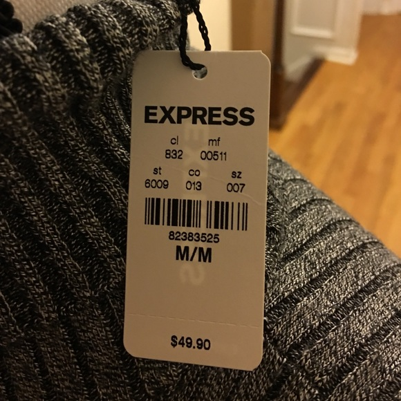 Express Sweaters - Gray ribbed turtleneck sweater.
