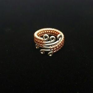DGwiring Jewelry - HANDMADE Silver & copper wire wrapped ring