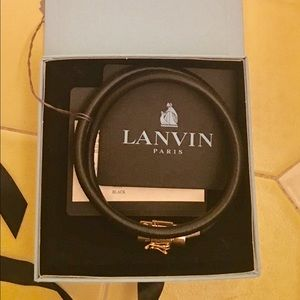 Lanvin Jewelry - Lanvin black leather cord bracelet never worn
