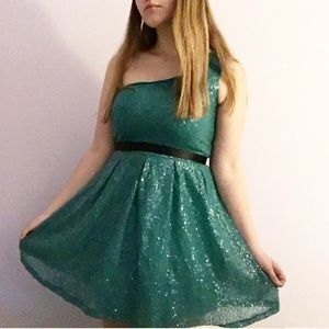 Lily Rose Dresses & Skirts - Off-the-Shoulder Turquoise Dress