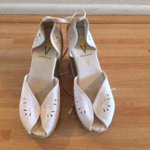 Volatile Shoes - VOLATILE jute wedges cream fabric upper SZ 7