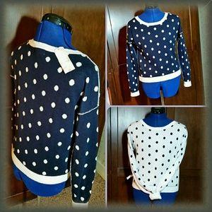 Arizona Jean Company Sweaters - Navy & White Polka-dot Sweater