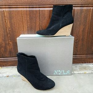 N.Y.L.A. Shoes - N.Y.L.A. Wedge Suede Booties