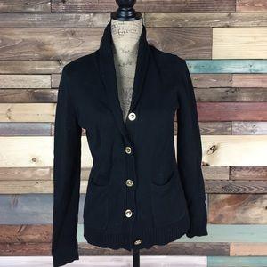 Lauren Ralph Lauren Sweaters - Ralph Lauren Black Cotton Cowl Cardigan - M