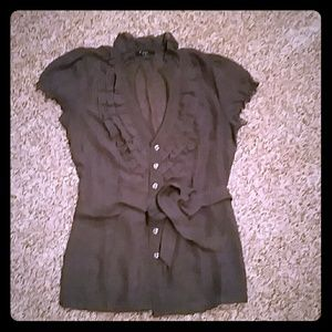 Sheer ruffle button down top with tie.