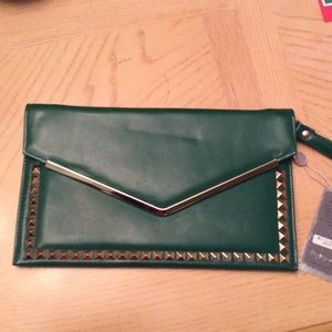 Brand new emerald green studded envelope clutch