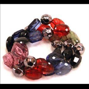 Jewelry - Multi-Color Triple Bead Strand Bracelet
