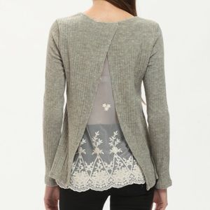 Grey long sleeve contrast lace top. Price firm.