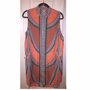 Mara Hoffman, Sleeveless Shirtdress, Coral Size Lg