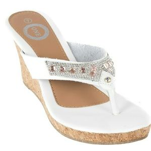 Tory Klein Shoes - Tory K Women Wedge Thong Sandals HS-2082, White
