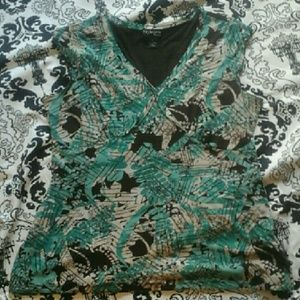 Style & Co Tops - STYLE & CO Turquoise & Brown Top