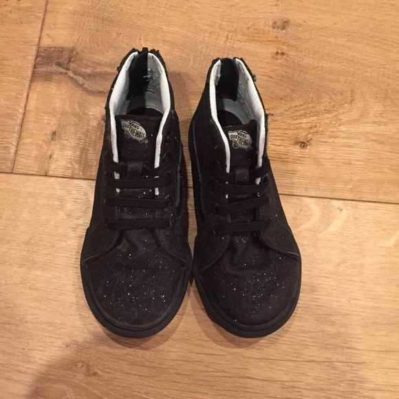 2a1a019c5d Girls Black sparkle high top vans - 8.5 toddler. M 5861c4f14127d063eb159e56