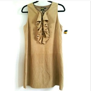 Rugby Ralph Lauren 4 Tan Suede Ruffle Dress NWT