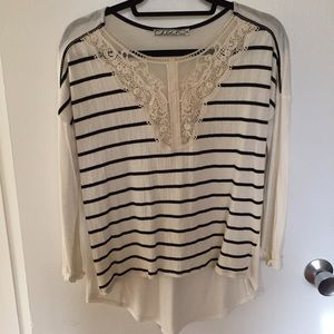 Chloe K Tops - Chloe K Striped Shirt with Lace Detail