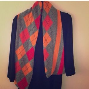 J.crew argyle soft scarf in red orange and gray