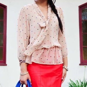 Forever 21 Tops - New Nude Red Blue Polka Dot peplum tie blouse