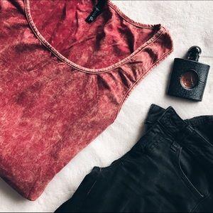 Full Tilt Tops - Red Tie Dye/Acid wash Tank and Tunic