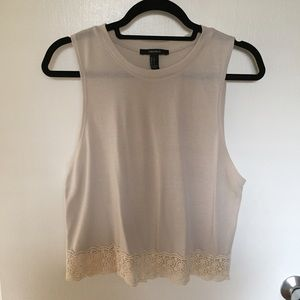 Forever 21 Tops - F21 Muscle Tank Style Top with Lace Trim Detail