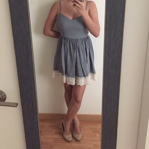 MINKPINK Dresses & Skirts - MINKPINK Pinstriped Casual Dress with Crochet Trim