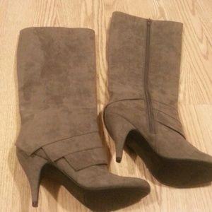 Grey suede Fergalicious boots