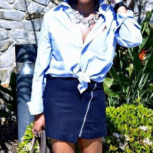 H&M Asymmetrical Pinstriped Mini Skirt