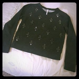 Willow & Clay Tops - Willow & Clay Fitted Beaded Sweatshirt