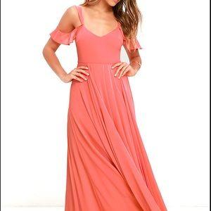 Lulus coral pink flowly maxi dress