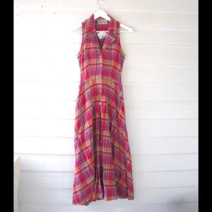 90s Plaid Button Front Maxi Shirt Dress Small 2 4