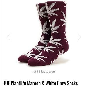 HUF Accessories - HUF Plantlife Maroon & White Crew Socks