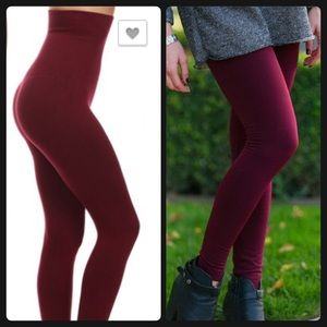 Vivacouture Pants - New Wine Compression Tummy Control Leggings