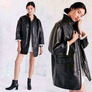 Urban Outfitters Jackets & Blazers - NWT UO Oversized Vegan Leather Moto Sherpa Jacket