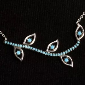 💙TURQUOISE LEAVES NECKLACE•925 STERLING SILVER 💙